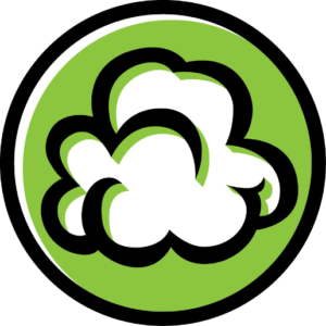 popcorn on lime green logo graphic