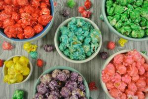 rainbow popcorn in bowls
