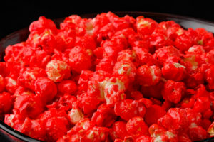cherry strawberry red hot popcorn